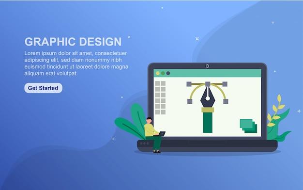 Concepto de diseño gráfico plantilla de página de destino.