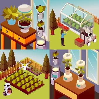 Concepto de diseño de granja robotizada