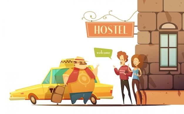 Concepto de diseño de hostel en estilo cartoon.