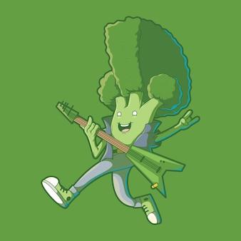 Concepto de diseño de ilustración de brócoli punk rocker