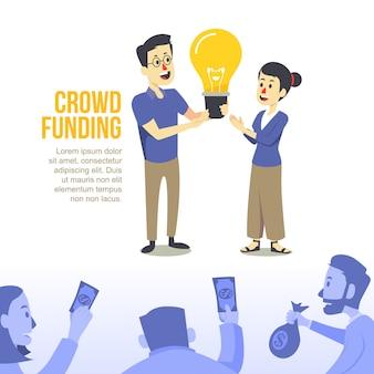 Concepto de diseño de ilustración de crowdfunding plano moderno
