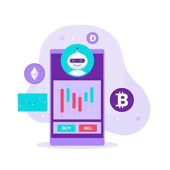 Concepto de diseño de ilustración de estrategia de bot de comercio de divisas criptográficas. ilustración para sitios web, páginas de destino, aplicaciones móviles, carteles y pancartas.