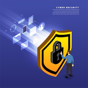 Concepto de diseño de ilustraciones isométricas solución de tecnología móvil ciberseguridad y dispositivo