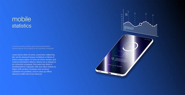 Concepto de diseño de ilustraciones isométricas solución de tecnología móvil en la parte superior ilustración vectorial estilo isométrico. diseño plano isométrico del concepto de aplicación móvil de maquetas.