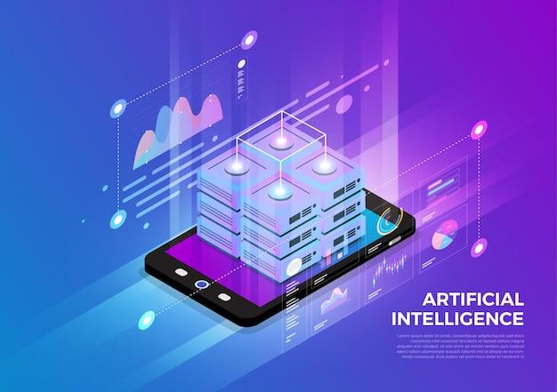 Concepto de diseño de ilustraciones isométricas solución de tecnología móvil en la parte superior