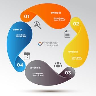 Concepto de diseño de infografía empresarial con elementos de colores, cuatro opciones e iconos del gráfico