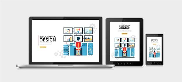 Concepto de diseño de infografía plana