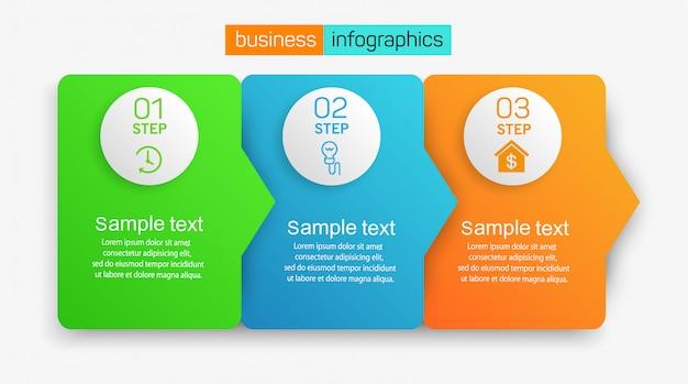 Concepto de diseño de infografías de negocios con 3 pasos u opciones