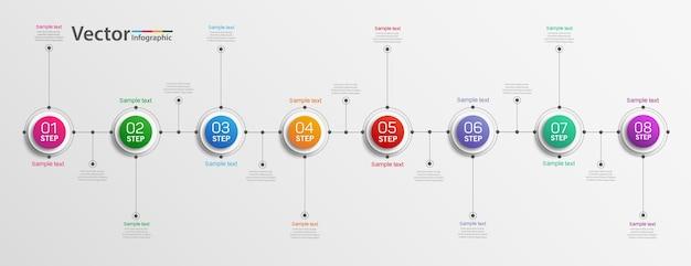 Concepto de diseño de infografías de negocios con 8 pasos u opciones