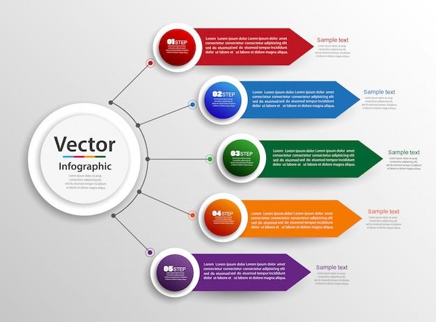 Concepto de diseño de infografías con pasos