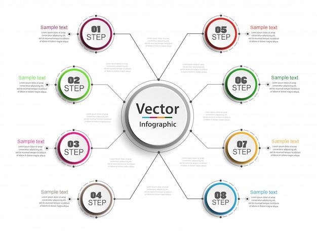 Concepto de diseño infográfico con 8 opciones.