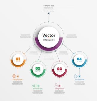 Concepto de diseño infográfico con cuatro opciones, pasos o procesos.