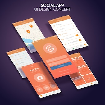 Concepto de diseño de interfaz de usuario de aplicación social móvil plana
