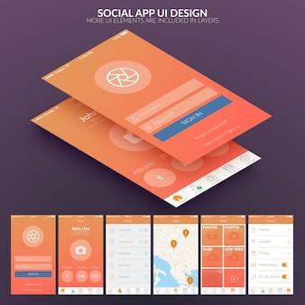 Concepto de diseño de interfaz de usuario para aplicaciones móviles sociales.