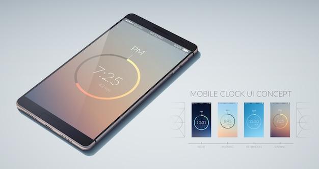Concepto de diseño de interfaz de usuario colorido reloj móvil en ilustración plana ligera