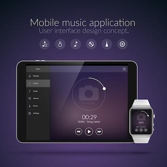 Concepto de diseño de interfaz de usuario con elementos web de la aplicación de música para dispositivos de reloj y tableta aislados ilustración vectorial