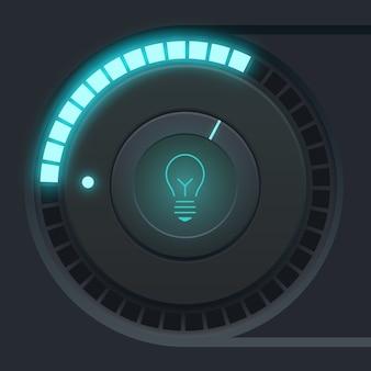 Concepto de diseño de interfaz de usuario con icono de bombilla y escala de luz de vaso