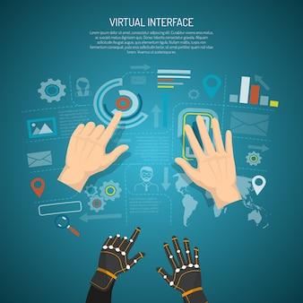 Concepto de diseño de interfaz virtual