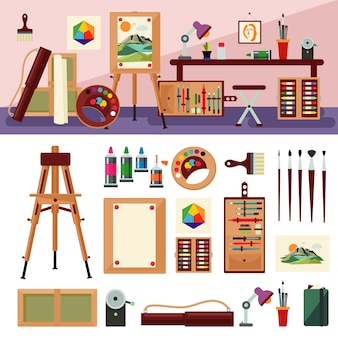Concepto de diseño de interiores de estudio de arte