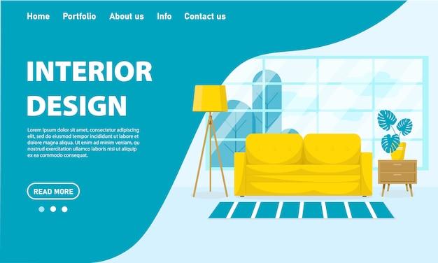 Concepto de diseño de interiores de sala de estar de vector.