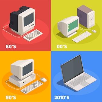 Concepto de diseño isométrico 2x2 gadgets retro con evolución de la computadora 3d aislado