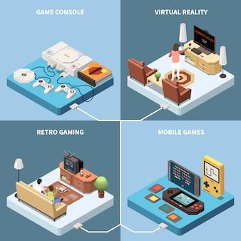 Concepto de diseño isométrico 2x2 de jugadores de juegos con imágenes de consolas de juegos y salas de estar con personas