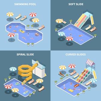 Concepto de diseño isométrico 2x2 del parque acuático parque acuático con imágenes de atracciones acuáticas y áreas de parques acuáticos