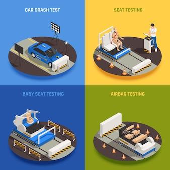 Concepto de diseño isométrico 2x2 de seguridad del coche de prueba de choque con texto y que representa diferentes procedimientos de prueba ilustración