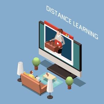Concepto de diseño isométrico de aprendizaje a distancia con hombre sentado en el sofá y lector en la pantalla de la computadora