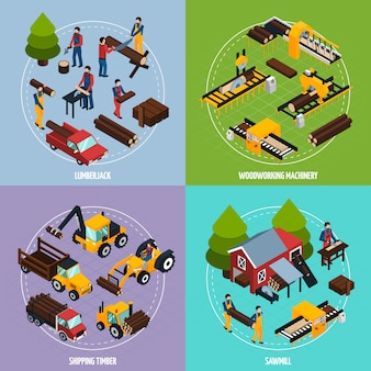 Concepto de diseño isométrico de aserradero