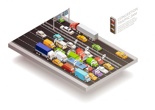 Concepto de diseño isométrico de atasco de tráfico