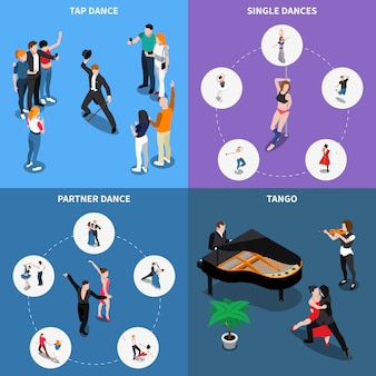 Concepto de diseño isométrico de bailes