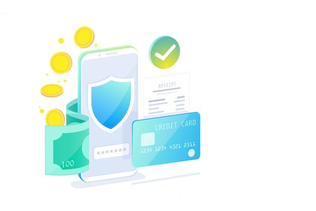 Concepto de diseño isométrico de banca móvil en línea y banca por internet, sociedad sin efectivo, transacción de seguridad con tarjeta de crédito.