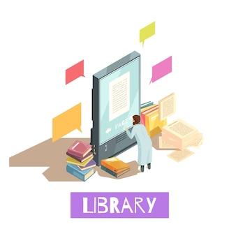 Concepto de diseño isométrico de la biblioteca en línea