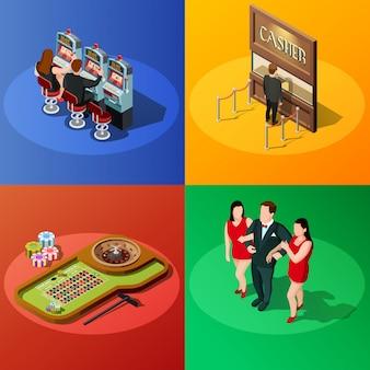 Concepto de diseño isométrico de casino 2x2