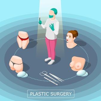 Concepto de diseño isométrico de cirugía plástica
