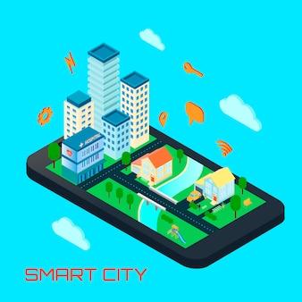 Concepto de diseño isométrico de la ciudad inteligente