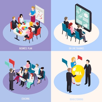 Concepto de diseño isométrico de coaching empresarial