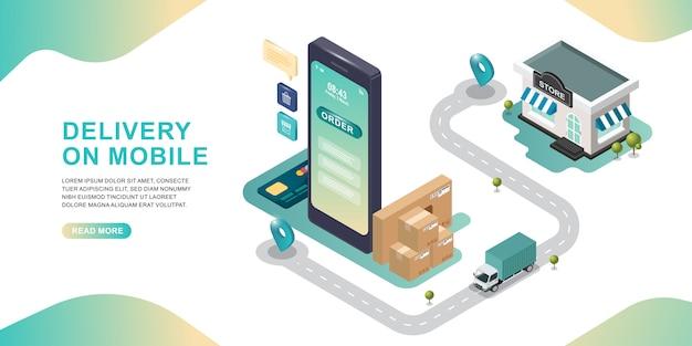 Concepto de diseño isométrico de compras en línea con camión de entrega de la tienda en línea. Vector Premium