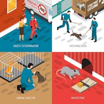 Concepto de diseño isométrico de control animal