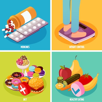 Concepto de diseño isométrico de control de diabetes