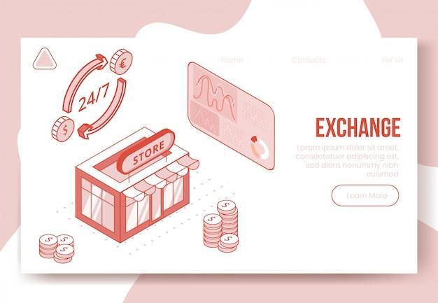 Concepto de diseño isométrico digital conjunto de iconos 3d de aplicación financiera de divisas