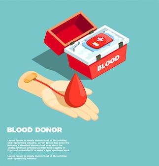 Concepto de diseño isométrico del donante de sangre