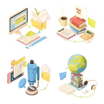 Concepto de diseño isométrico de e-learning
