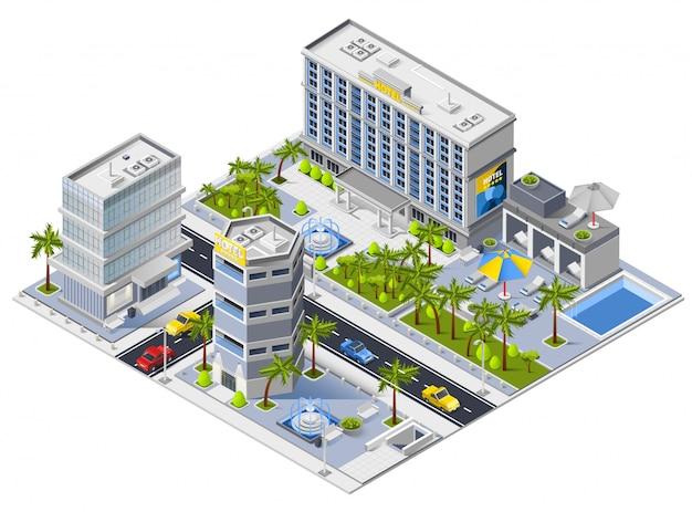 Concepto de diseño isométrico de edificios de hotel de lujo