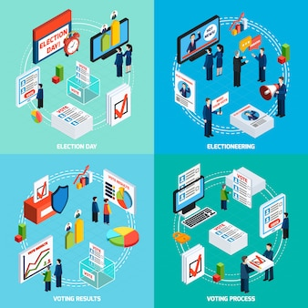 Concepto de diseño isométrico de elecciones y votación