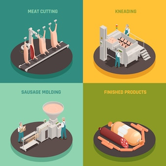 Concepto de diseño isométrico de fábrica de salchichas