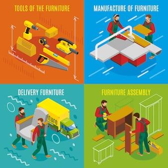 Concepto de diseño isométrico de fabricantes de muebles