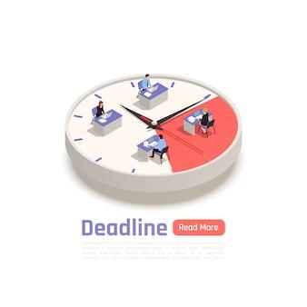 Concepto de diseño isométrico de fecha límite con un equipo de empleados sentados en sus escritorios en un gran reloj redondo