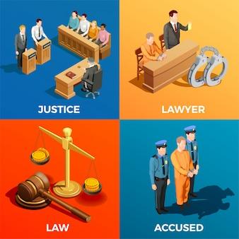 Concepto de diseño isométrico de justicia